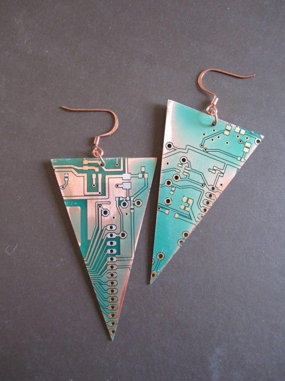 Upcycled circuit board earrings from Upcycled Jewellery