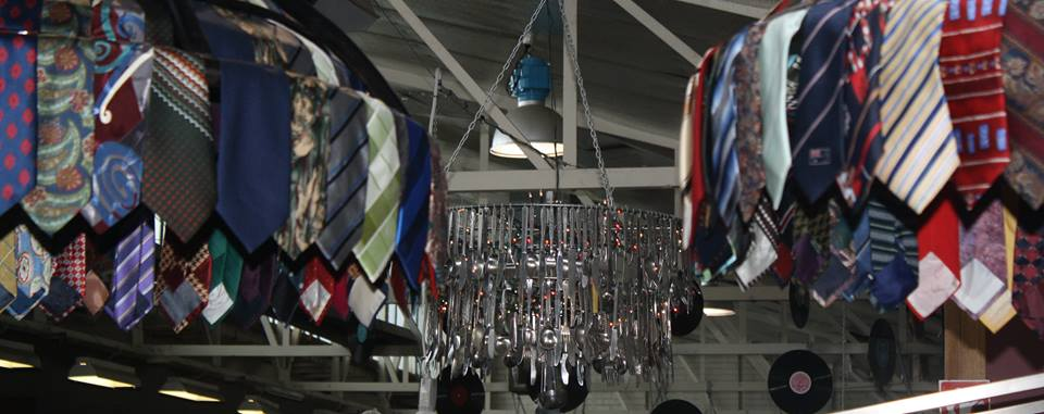 Upcycled cutlery chandelier at The Mustard Tree Op Shop