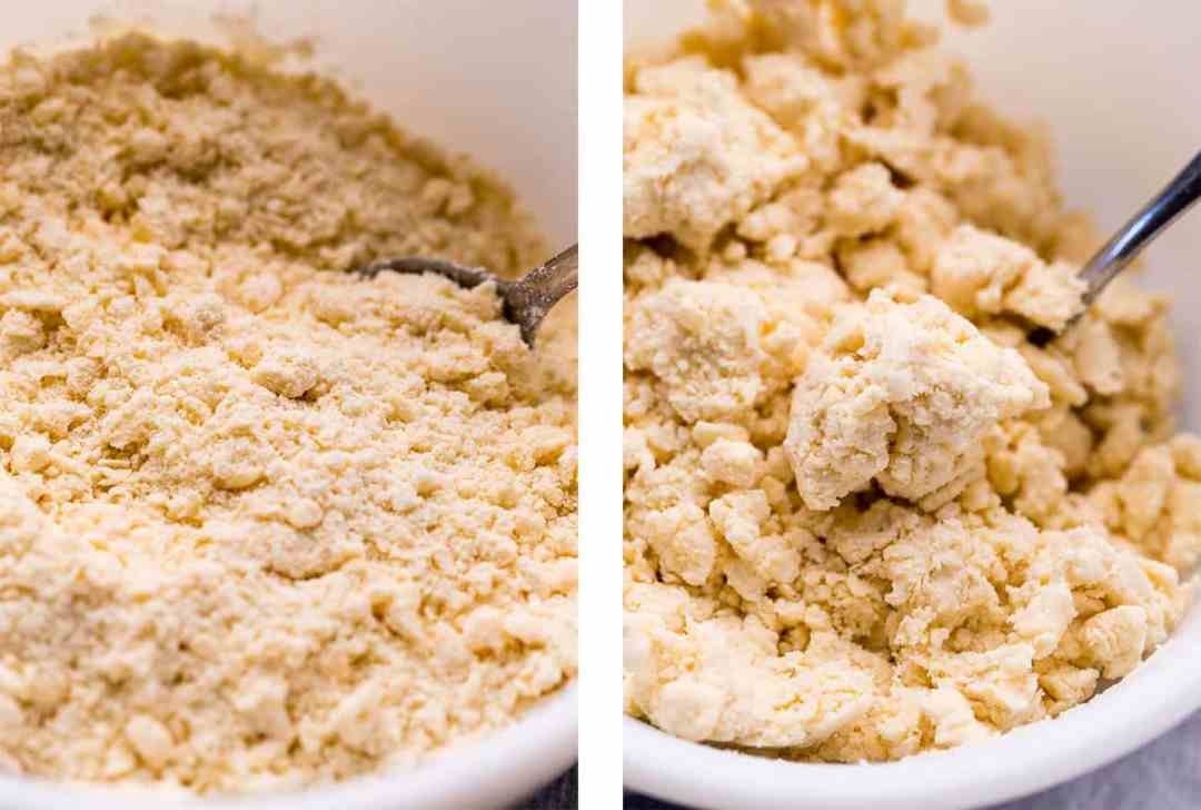 Left: Cutting vegan butter into flour to make vegan pie crust. Right: Vegan pie dough with just enough water.