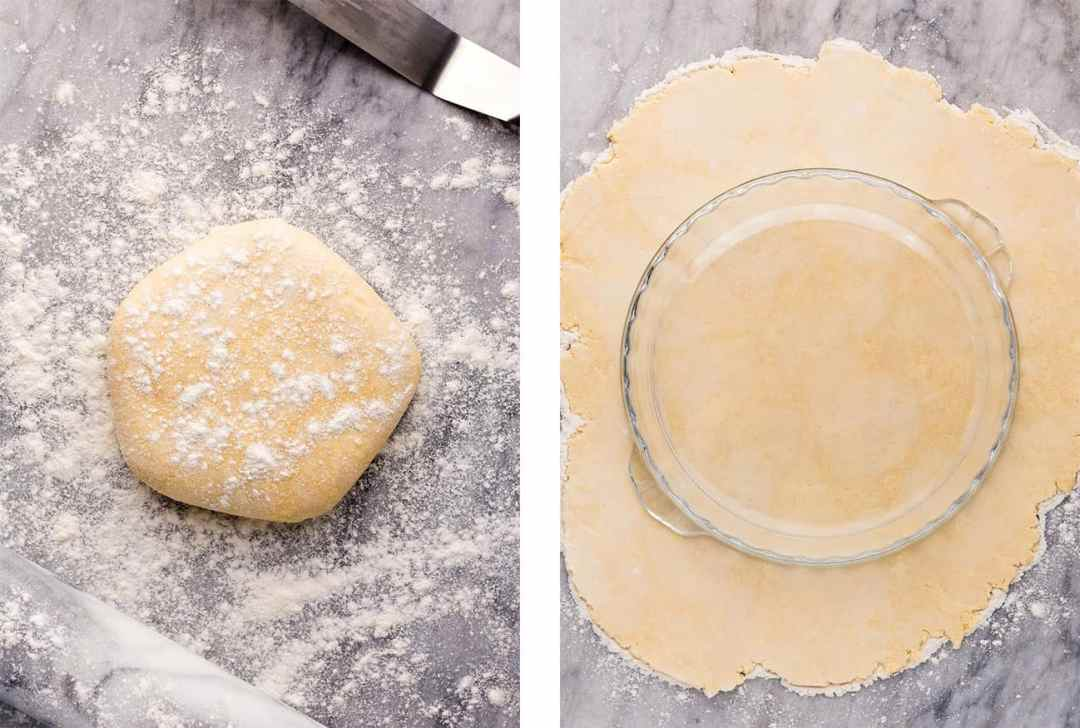 Left: Chilled vegan pie dough on a floured marble surface ready to be rolled out. Right: Measuring the rolled out vegan pie dough against a pie plate to check for size.