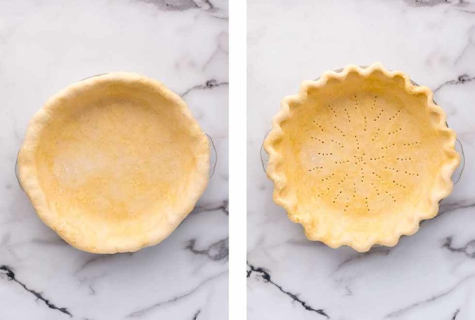 Before and after fluting the edges of the pie crust and pricking the bottom with a fork.