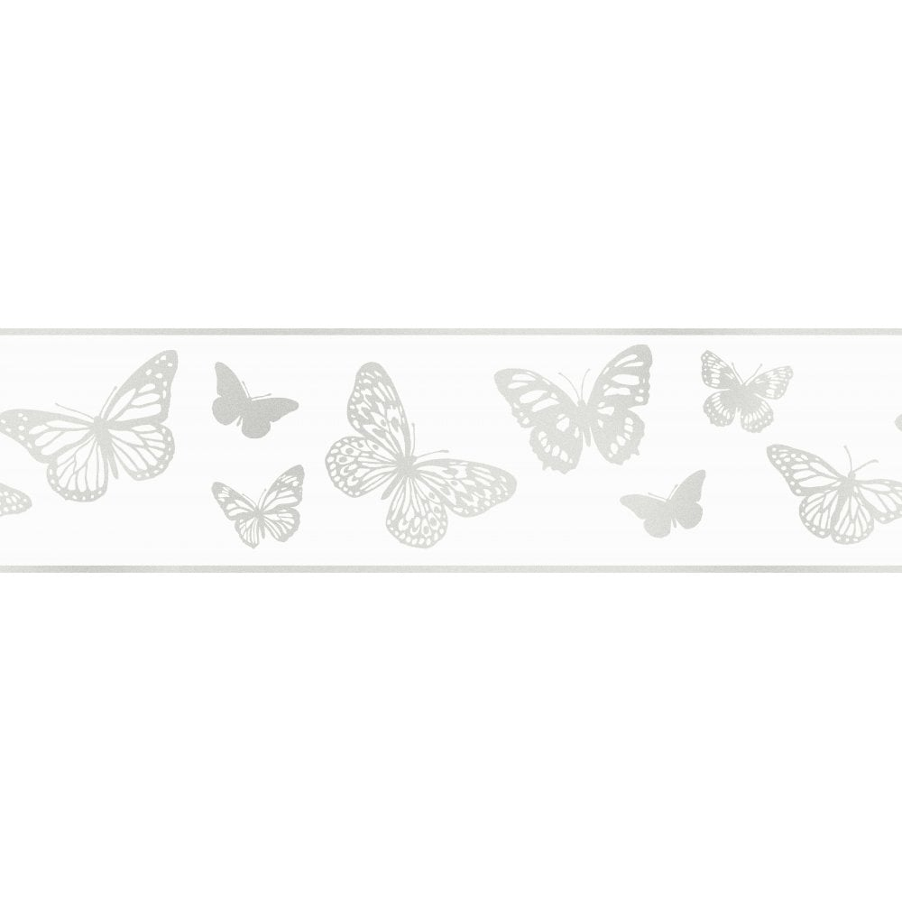 Wallpaper For Girls Room Uk Fine Decor Glitz Butterfly Glitter Wallpaper Border White
