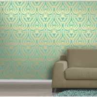 I Love Wallpaper Shimmer Damask Metallic Designer