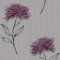 Fine Decor Amelia Floral Designer Feature Wallpaper Purple ...