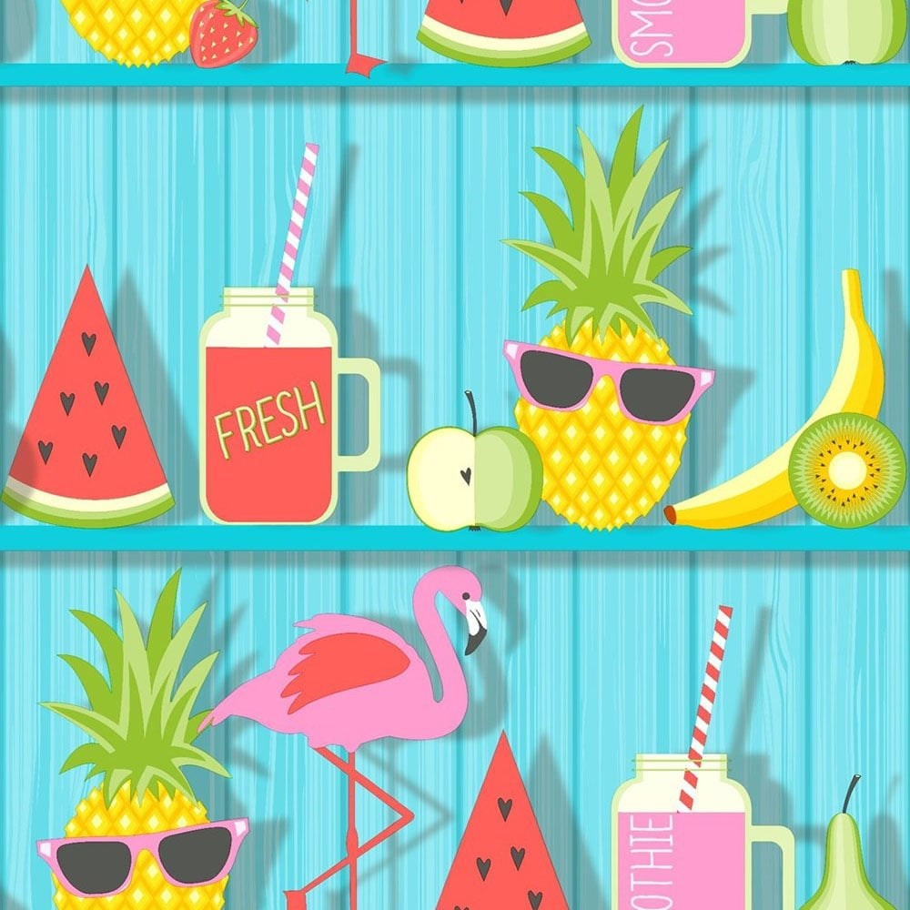 Fine Decor Tropical Shelves Kids Wallpaper Teal