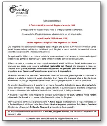 Centro Astalli propaganda anti-Libia