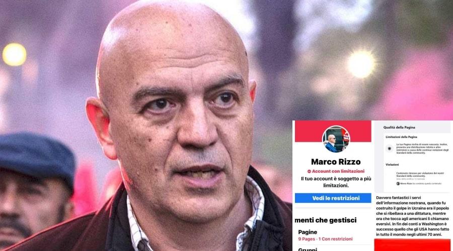 """Anche Marco Rizzo censurato da Facebook: """"Strapotere dei Big Tech è inaccettabile"""""""