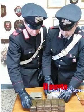 Trentenne di Sant'Andrea arrestato a Minturno con 3,3 chili di hashish