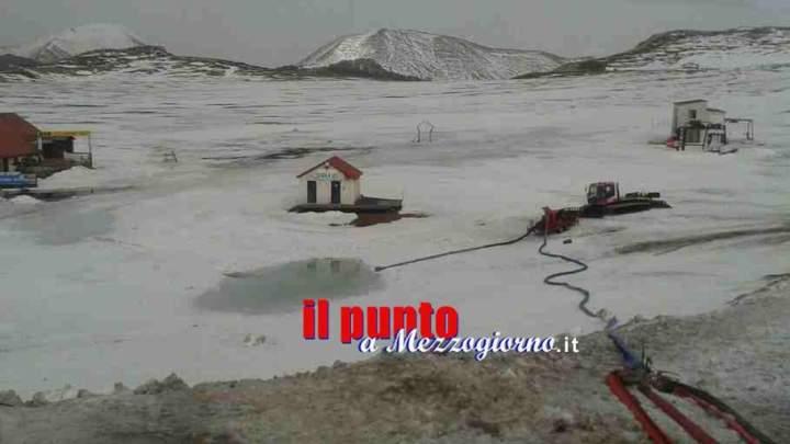 Prosciugato il lago, a Guarcino Campo Catino torna ad essere località sciistica