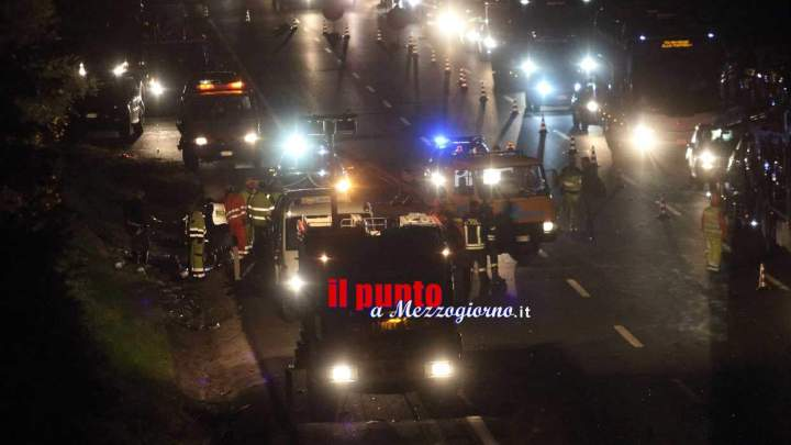 Incidente stradale mortale stanotte in A1 tra San Vittore e Caianello