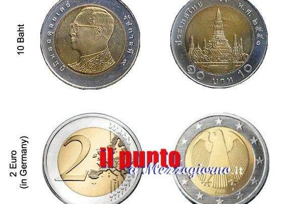 A Roma dalla Thailandia: monete da 10 baht (27cent) spacciate per quelle da due euro