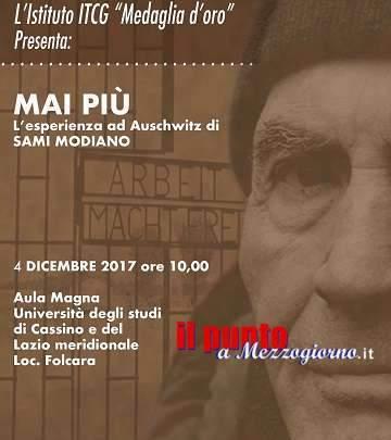 """""""Mai Più"""" – L'esperienza di Auschwitz di Sami Modiano il 4 dicembre nell'Aula Magna dell'Università di Cassino"""