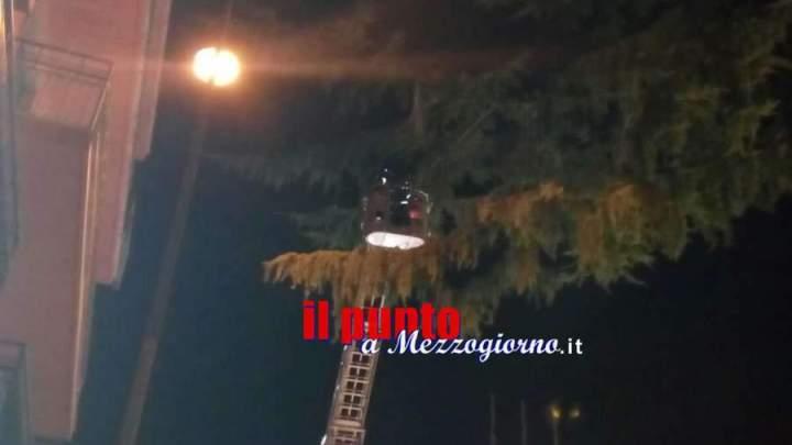 Foglio di asfalto cade da un tetto in centro a Cassino, vigili del fuoco al lavoro