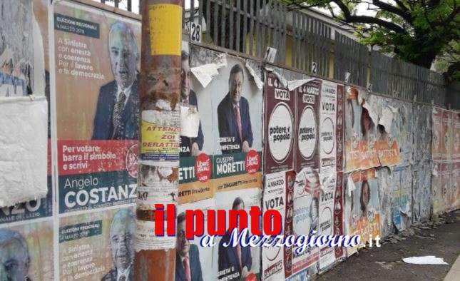 """Rimasugli di campagna elettorale a Cassino, esposti ancora pannelli e """"facce"""""""