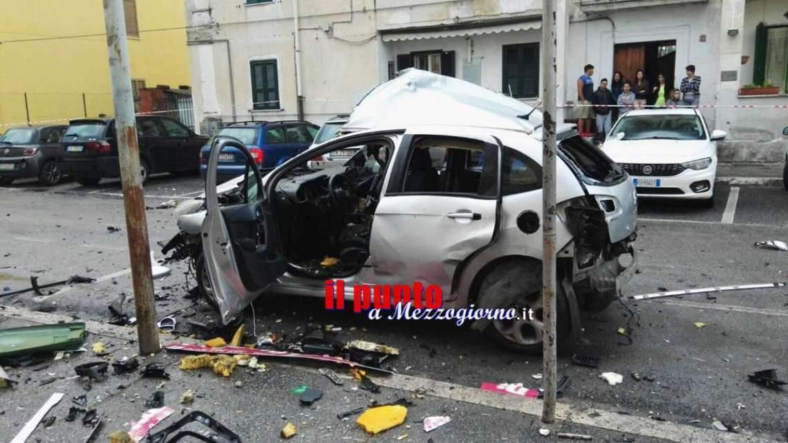 Aquino: Auto esplode in via Della Libertà, tanta paura, nessun ferito
