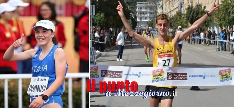 Cassino, Francesco Fortunato e Eleonora Dominici conquistano il tricolore alla 20 km marcia su strada