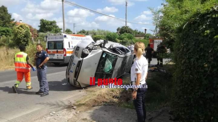Auto con mamma e tre figli di Paliano si cappotta a Velletri, 12enne in gravi condizioni