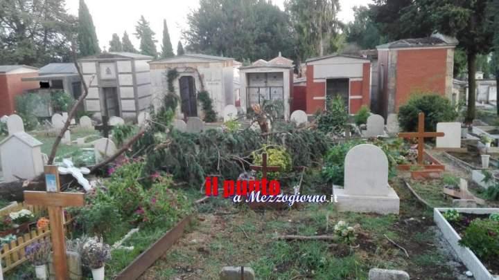 Maltempo, cipressi e rami su tombe e cappelle gentilizie; chiuso il cimitero di Velletri