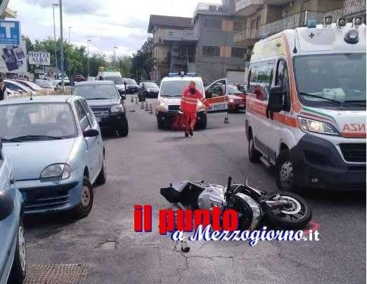 Incidente stradale a Cassino, centauro ferito