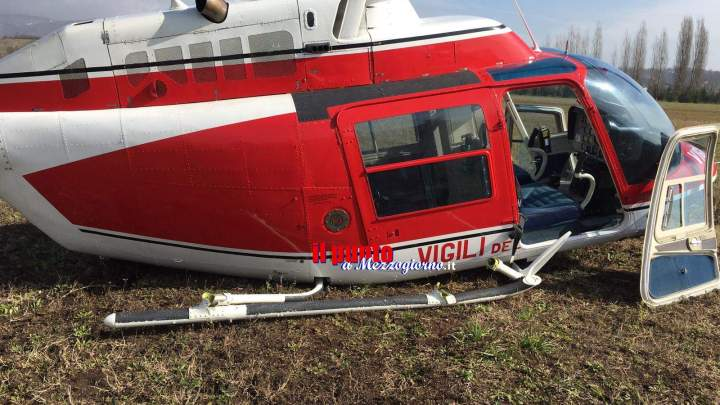 Atterraggio di emergenza per elicottero dei vigili del fuoco ad Anagni, illesi gli occupanti