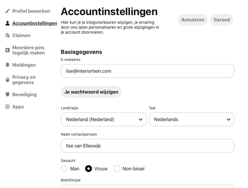 accountinstellingen pinterest