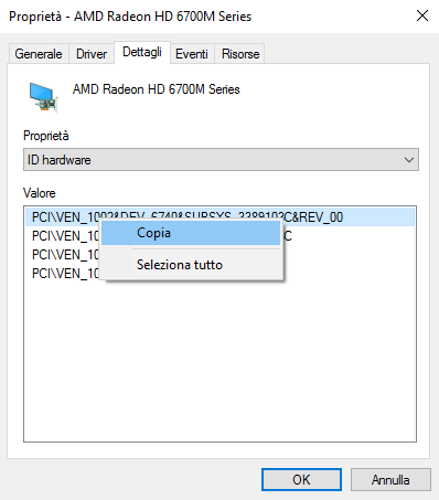 Dispositivo hardware non riconosciuto in Windows 10