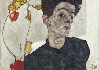 Egon Schiele - Autoritratto con alchechengi, 1912 - olio e vernici opache su tavola; 32,4x40,2 cm