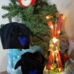 Set Cappello e sciarpa nera con topolino blue