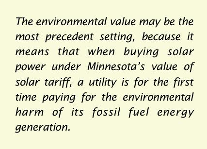 pull quote environmental value of solar Minnesota ILSR report