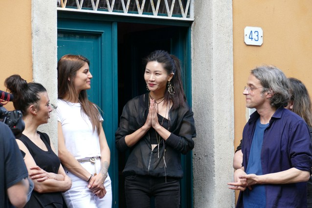 Jung Hee Choi at the opening of her installation, Ahata Anahata, Manifest Unmanifest Udine, 2019. Il Suono in Mostra, galleria Spazioersetti, Udine, Italy, 2019. Photo: Lara Carrer