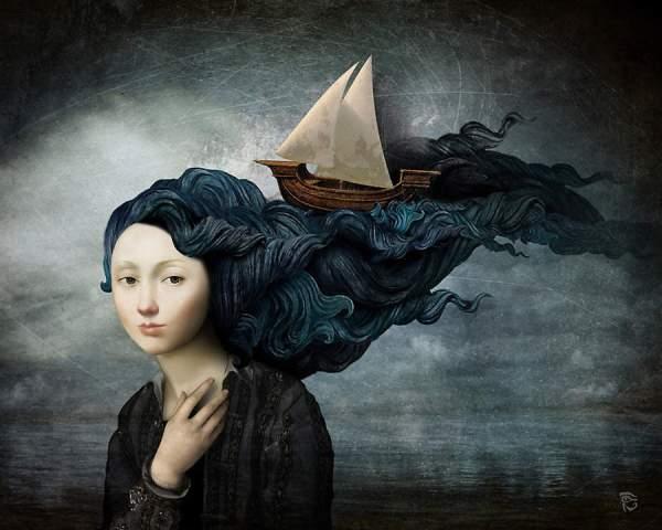 Quest'opera di Christian Schloe mostra una barca che naviga tra i capelli d'onda delle ragazza, come se volesse entrarle dentro e scoprire di chi si tratti veramente; o per sottolineare quanto gli uomini e il mare siano intimamente legati