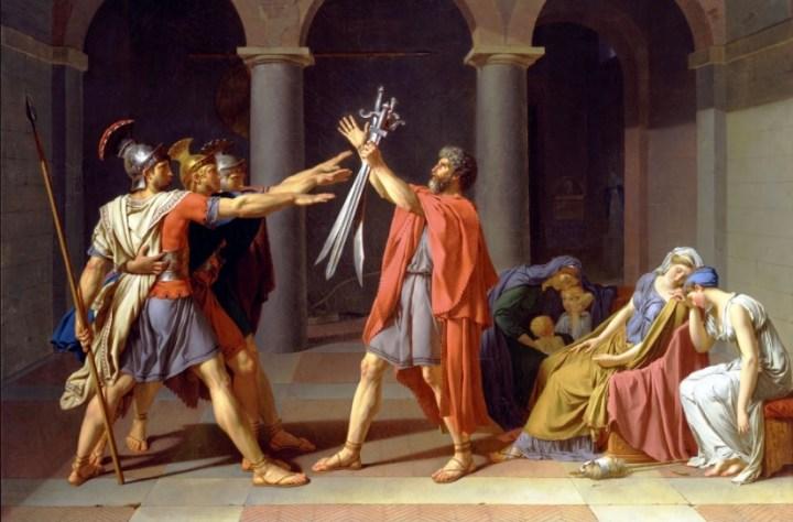 Una delle tante opere significative del Neoclassicismo. David, il giuramento degli Orazi