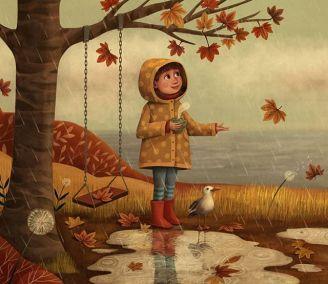 niña bajo un arbol