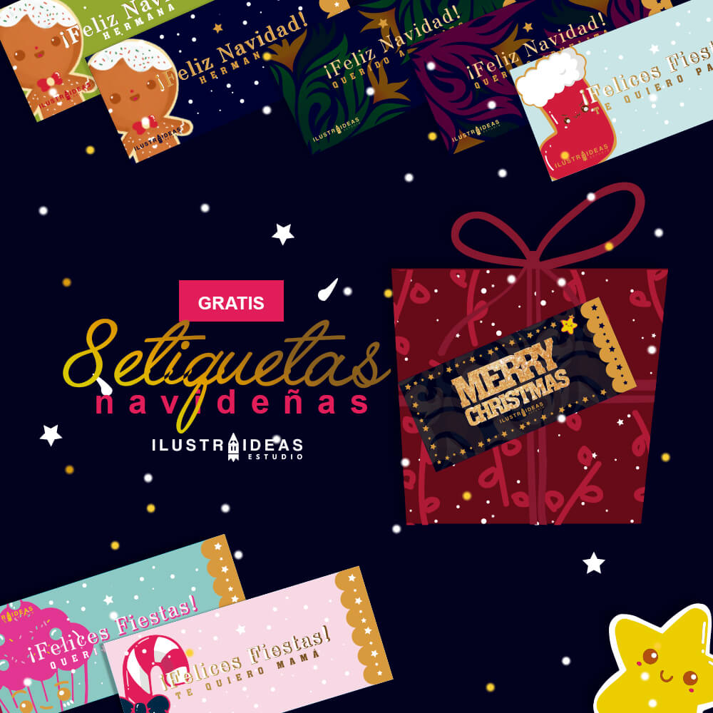 Etiquetas navideñas con dedicatorias