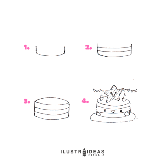 8 dibujos fáciles para principiantes_torta
