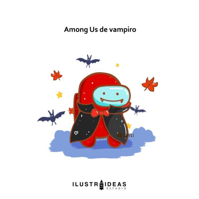 Among us con traje de vampiro