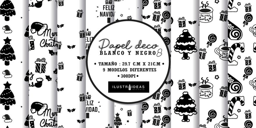 Papel decorativo navideño blanco y negro