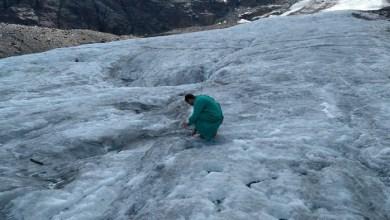 ricercatore sul ghiacciaio dello Stelvio