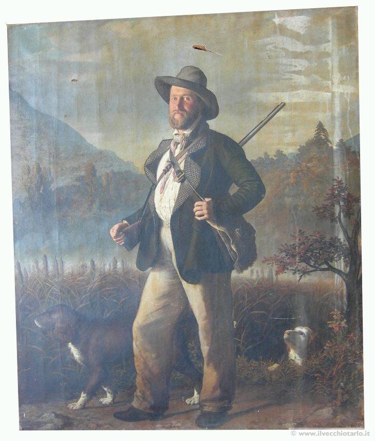 antico quadro cacciaolio 800 il cacciatore