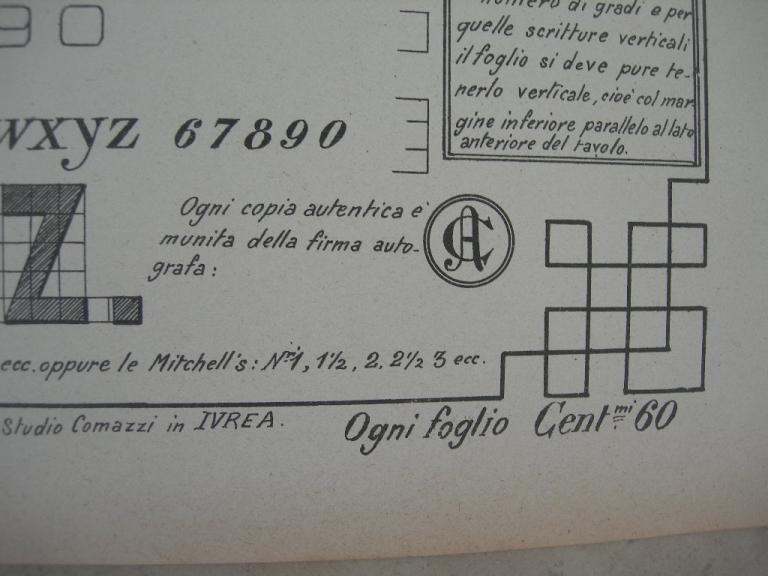 Tabella di calligrafia antica anni 30