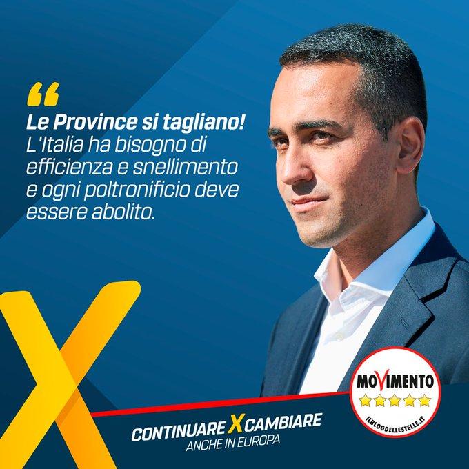 Movimento 5 stelle: Tagliare le Province vuol dire ridurre gli sprechi, vuol dire più efficienza e meno burocrazia inutile.