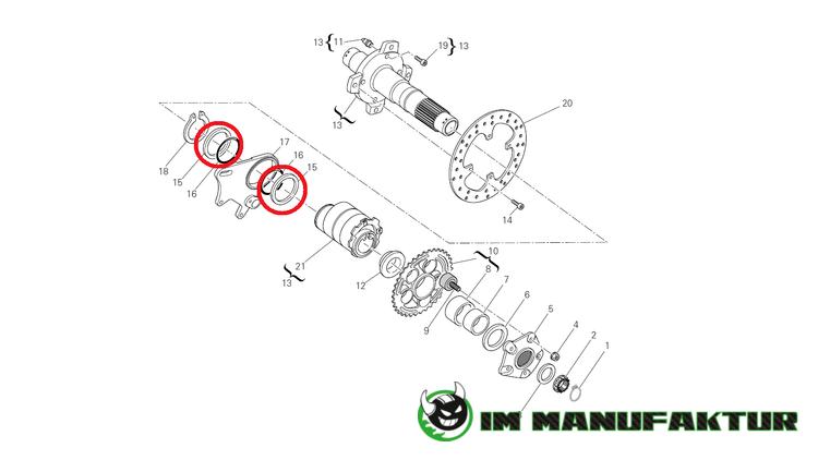 Ducati Unterlegscheiben Set für Bremssattelhalter 87x70