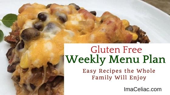 Gluten Free Weekly Menu December 28 2015