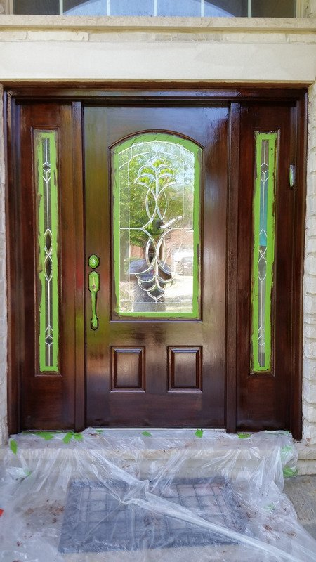 The door right after the first coat of varnish. & Refinishing a Wood Front Door - Cheap and Easy