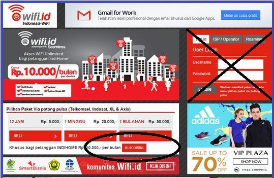 Tampilan Halaman Login wifi.id pada Pc