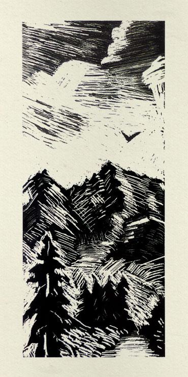 Gravure d'un paysage de montagne