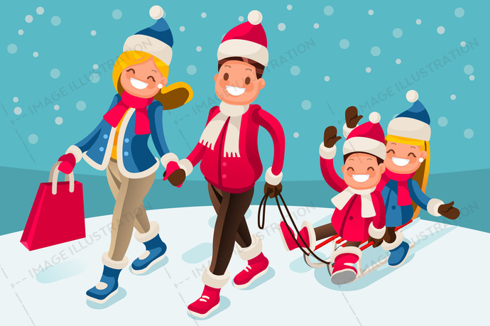 Happy Family In Winter Holidays Isometric People Image Illustration
