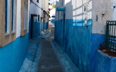 Blauw straatje in de Kasbah van de Oudaya's in Rabat