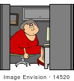 #14520 Depressed Middle Aged Caucasian Woman In Her Cubicle At Work Clipart by DJArt