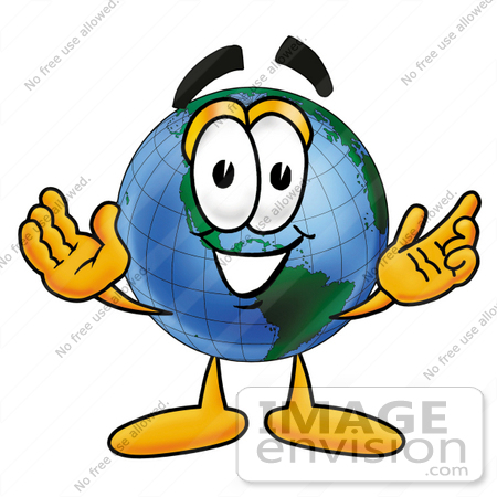 #24001 Clip Art Graphic of a World Globe Cartoon Character With Welcoming